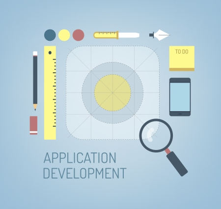 application icon: Flat design modern vector illustration concept of search, creation and development process a new application icon for mobile interface  Isolated on stylish color background