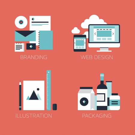 Flat design modern vector illustration icons set of brand identity style, web and mobile design, illustration objects and packaging design for company branding  Isolated on stylish red background  Ilustração