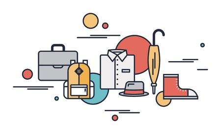 Contour plat illustration vectorielle moderne icônes de la saison des vêtements pour les affaires et la situation de tous les jours dans la tendance design élégant Isolé sur fond blanc Banque d'images - 23864941