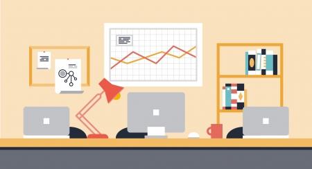 팀 협업 또는 사람들 Office 개체, 장비, 현대적인 장치와의 공동 작업 공간을위한 세련된 작업 공간 내부의 평면 디자인을 현대적인 벡터 일러스트 레이