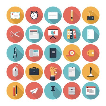 계시기: 비즈니스 요소, 사무실 장비 및 흰색 배경에 고립 된 마케팅 항목의 세련된 색상의 긴 그림자 효과와 현대 평면 아이콘의 벡터 컬렉션