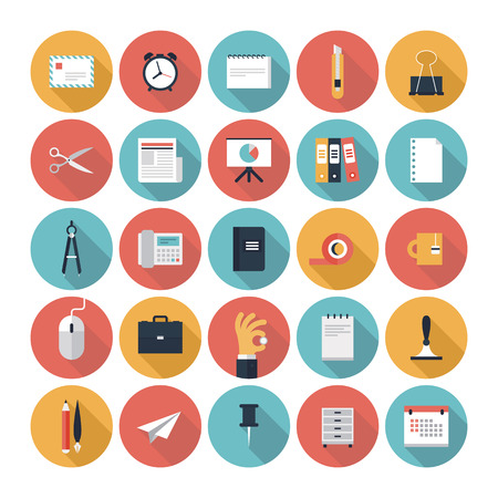 riferire: Moderno icone piane vettore di raccolta con una lunga effetto ombra in eleganti colori di elementi di business, attrezzature per ufficio e articoli di marketing isolato su sfondo bianco