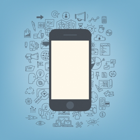 세련된 색상 배경에 고립 빈 화면 현대 휴대 전화와 웹 개발 및 비즈니스 프로세스에 낙서 드로잉 아이콘 플랫 디자인 현대 벡터 일러스트 레이 션