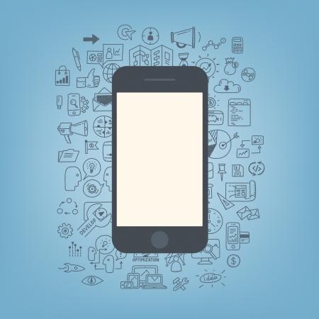 Plat ontwerp moderne vector illustratie concept van de doodle pictogrammen op web development en business process met moderne mobiele telefoon met een leeg scherm geïsoleerd op een stijlvolle achtergrond kleur