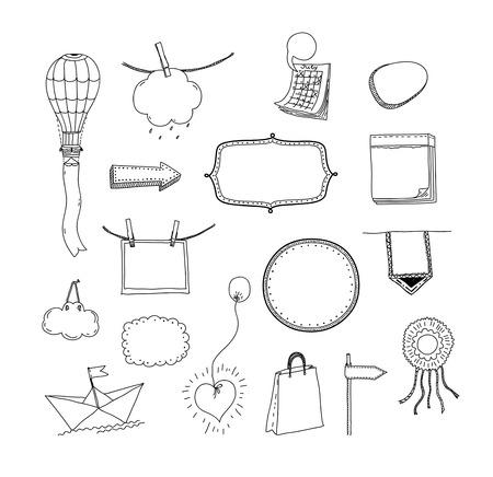 for text: Vector doodle raccolta di fotogrammi disegnati a mano e segni con spazio per il messaggio di testo e le informazioni Isolato su sfondo bianco Vettoriali