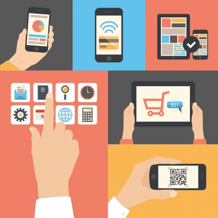 using phone: Flat design modern vector illustration icons in stylish colors of hand touch screen with business icons, mobile phone scanning qr-code, online purchase on digital tablet and wireless e-commerce usage