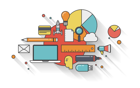 gestion: Diseño plano vectorial infografía concepto de ilustración con la sombra larga de la planificación empresarial moderno con iconos conjunto de elementos de trabajo de la oficina para el desarrollo y la gestión de la rutina diaria aislado sobre fondo blanco