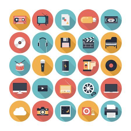 현대 평면 아이콘 벡터 일러스트 레이 션 멀티미디어 문자, 음향 기기, 오디오 및 비디오 항목의 세련된 색상의 긴 그림자 디자인 효과 수집 및 흰색 배