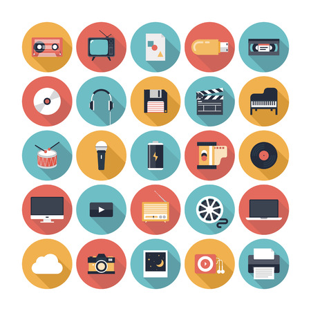 icons: Modern flat icons vector illustration collection with long shadow design effect in stylish colors of  multimedia symbols, sound instruments, audio and video items and objects  Isolated on white background