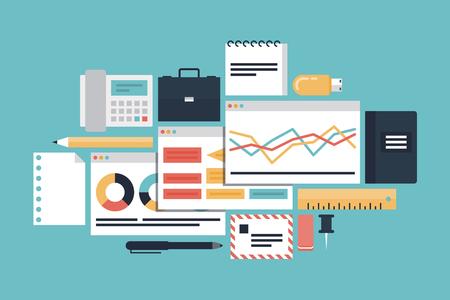 Plat ontwerp moderne vector illustratie iconen set van ontwikkeling productiviteit, kantoor verschillende objecten en apparatuur en marktwerking met diagram en grafieken die op stijlvolle turkooise achtergrond