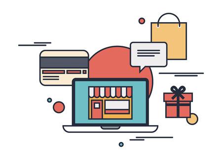 인터넷을 통해 제품을 구입하는 플랫 디자인 현대 벡터 개요 그림 개념, 흰색 배경에 고립 된 신용 카드로 온라인 쇼핑 통신 및 구매 일러스트