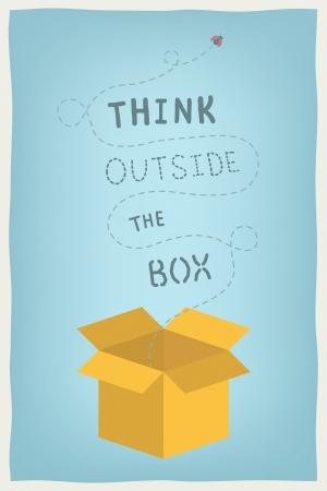 """Plat ontwerp moderne vector illustratie concept van de motivatie en positief denken en creatieve mindset met de hand getekende tekst """"denken buiten de box"""" Geïsoleerd op stijlvolle gekleurde achtergrond Vector Illustratie"""