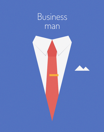 business leader: Flat design modern vector illustration poster concept of businessman suit with sample text symbolizing success leader person  Isolated on stylish color background