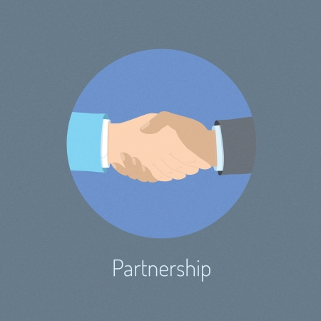 communication metaphor: Flat design vector illustration poster concept of two business people hand shaking which  symbolizing partnership cooperation and success deal negotiation  Isolated on stylish background