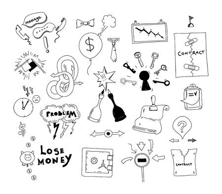 misunderstanding: Vector doodle collection of hand drawn illustration of business conflict and problem issues and finding solution for contract deal  Isolated on white background