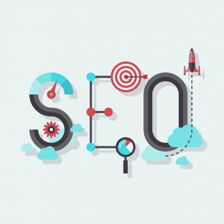 세련된 컬러 배경에 고립 성공 인터넷 검색 최적화 과정을 상징 요소 및 아이콘에서 결합 SEO 단어의 평면 디자인을 현대적인 벡터 일러스트 레이 션의