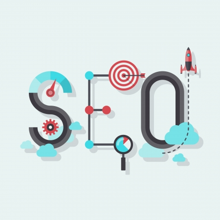 Flat design modern vector illustration concept of SEO word combined from elements and icons which symbolized a success internet searching optimization process  Isolated on stylish colored background  Vector