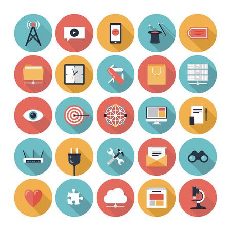 iconos: Diseño Flat vector moderna ilustración iconos conjunto del sitio web de SEO buscando la optimización y la tecnología de objetos y equipos de desarrollo en elegantes colores aislados sobre fondo blanco Vectores