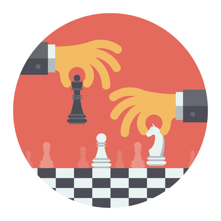 Diseño plano vector moderno concepto de ilustración de dos personas jugando al ajedrez y tratar de encontrar la posición estratégica y táctica para el plan de éxito a largo plazo o una meta aislada en forma redonda en el fondo blanco