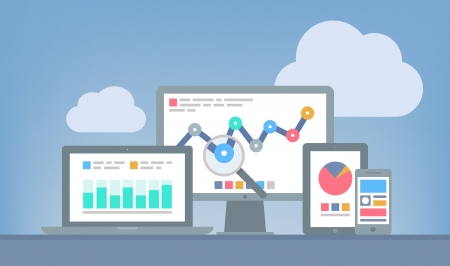 Flache Bauweise modernen Vektor-Illustration Konzept der Website Analytics und SEO-Datenanalyse mit modernen elektronischen und mobilen Geräten getrennt auf grauem Hintergrund
