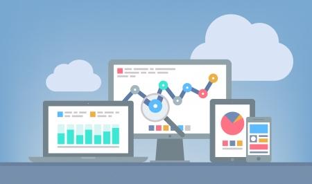 Illustrazione design piatto vettore moderno concetto di analisi dei siti web e l'analisi dei dati SEO utilizzando moderni dispositivi elettronici e mobile isolato su sfondo grigio