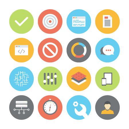 Modern plat ontwerp vector illustratie iconen set van user interface design, web programmeren en website codering elementen en objecten geïsoleerd op witte achtergrond Stock Illustratie