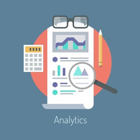 Plat ontwerp vector illustratie concept poster op analytics onderzoeksinformatie en website data statistieken die op stijlvolle achtergrond kleur