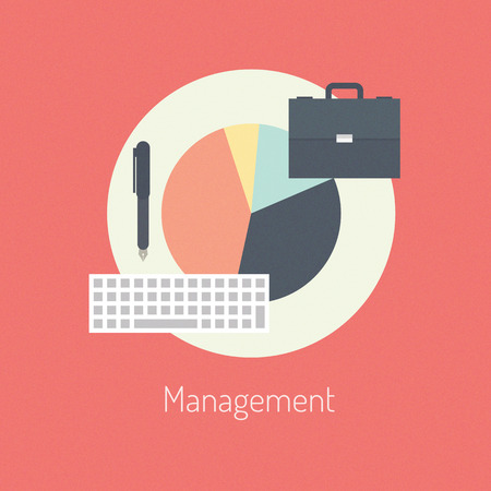 Flat design modern vector illustration concept of poster on business management or finance workflow theme  Isolated on stylish color background  Vector
