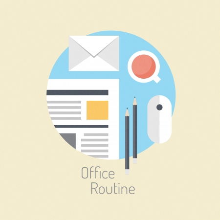 schedule reports: Flat design vector illustration concept of modern office workflow, business lifestyle and routine office daily activity poster  Isolated on stylish color background Illustration