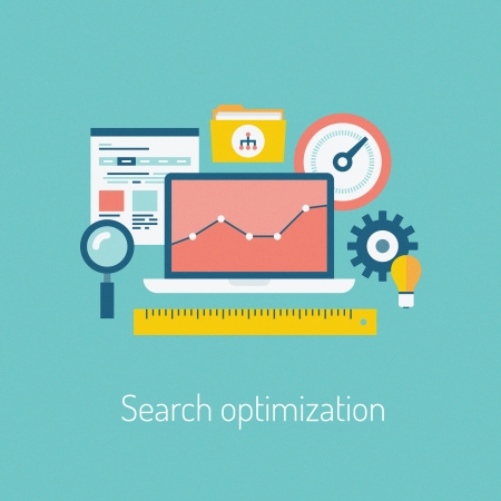 Flat design modern vector illustration of the SEO website searching optimization process with web page, laptop and other icons  Isolated on stylish color background Иллюстрация