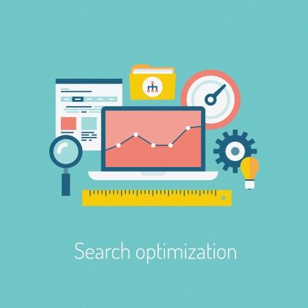 Plat ontwerp moderne vector illustratie van de SEO website zoeken optimalisatie proces met webpagina, laptop en andere iconen die op stijlvolle achtergrond kleur