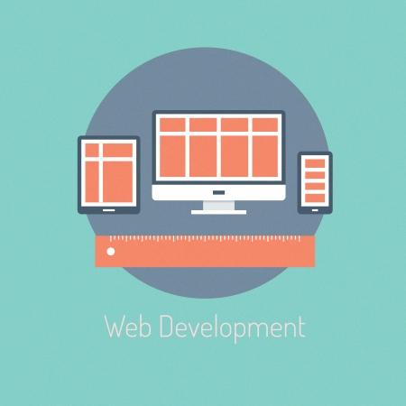 web technology: Design piatto moderno illustrazione vettoriale manifesto concetto di sviluppo programmazione web e reattivo ottimizzazione del processo di progettazione sito web su computer e dispositivi portatili isolati su sfondo elegante