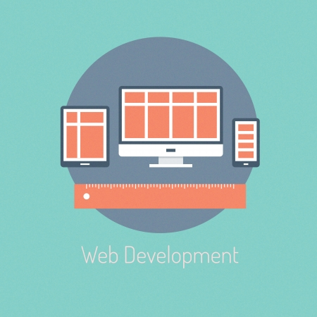 Flat design modern vector illustration poster concept of web programming development and responsive website process design optimization on computer and mobile devices  Isolated on stylish background