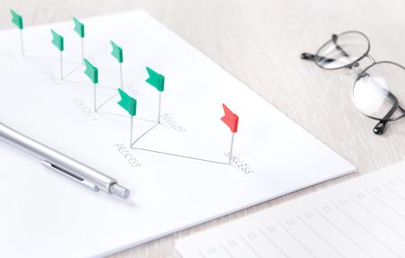 target thinking: Concepto de negocio de proceso de planificaci�n y posterior an�lisis de la estrategia de desarrollo para lograr el �xito en un escritorio moderno lugar de trabajo con documentos y material de oficina