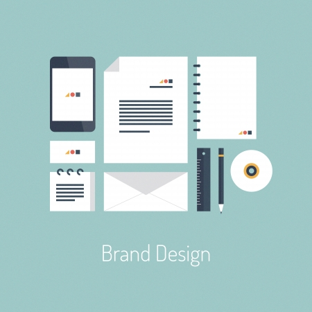 Ilustración vectorial concepto de diseño Flat anunciante con iconos conjunto de la moderna identidad de diseño de marca con objetos de oficina en blanco variedad organizados para presentación de la empresa Vista superior aislada en elegante fondo de color