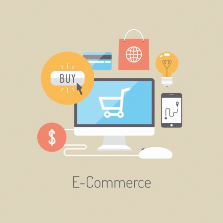 e commerce: Flat design vector illustration poster concept with icons of buying product via online shop and e-commerce ideas symbol and shopping elements  Isolated on stylish colored background