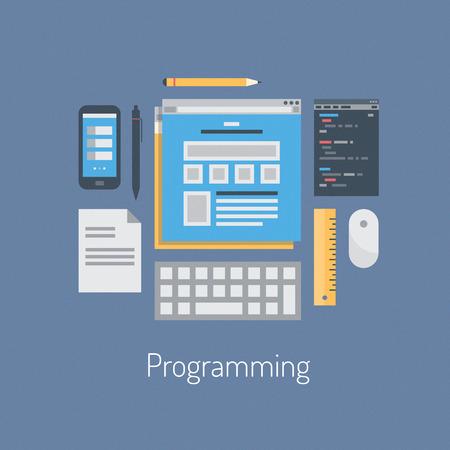 웹 코딩과 HTML 세련된 컬러 배경에 고립 프로그래밍 사용자 인터페이스 요소에 대 한 현대적인 프로그래머 워크 플로우 세트 플랫 디자인 벡터 일러스