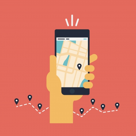 hand holding smart phone: Modern flat design vector illustration concept of man holding smartphone with mobile gps navigation on a screen and route with check-in symbols  Isolated on red background