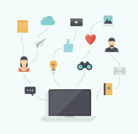 tecnologia comunicacion: Ilustraci�n Dise�o plano vector concepto de usar la tecnolog�a de comunicaci�n moderna, con elegante port�til y elementos de conexi�n de los iconos aislados sobre fondo blanco
