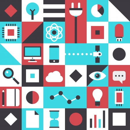 Flat design vector illustration pattern concept with icons of modern business innovation elements and futuristic technology communication and connection symbol  Isolated on stylish colored background Stock Vector - 24407239