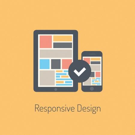 entwurf: Flache Bauweise modernen Vektor-Illustration Konzept der voll reaktions Benutzeroberfläche auf digitale Tablet und Handy getrennt auf stilvolle farbigen Hintergrund