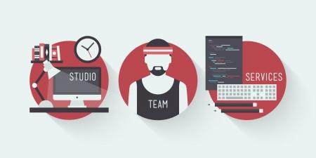 graphics: Plat ontwerp vector illustratie iconen set van moderne web studio werkplaats, designer team concept en webpagina programmering en codering met workflow objecten die op stijlvolle gekleurde achtergrond Stock Illustratie