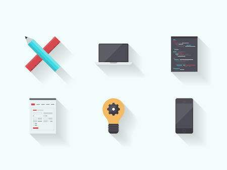 development process: Flat design vector illustration icons set with long shadow of web page programming and user interface product development process design with modern technology devices  Isolated on white background