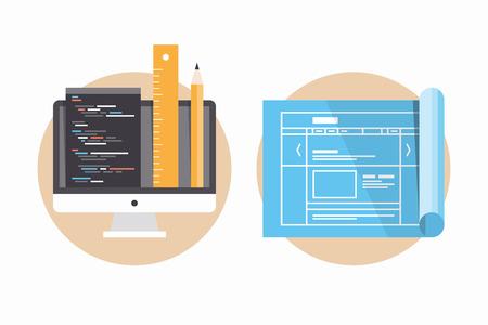 Plat ontwerp moderne vector illustratie iconen set van website programmering en codering, webpagina blauwdruk en projectontwikkeling proces Geïsoleerd op witte achtergrond Stock Illustratie