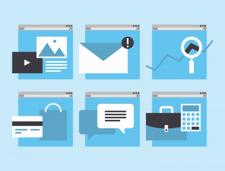 financial item: Modern flat icons vector collection in simple window browser of web business communication and financial item and service using internet support  Isolated on stylish colored background