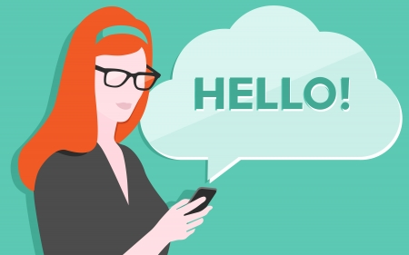 Flat design vector illustration of young beautiful woman holding modern mobile phone and showing a process of communication via sms texting  Isolated on stylish colored background  Vector