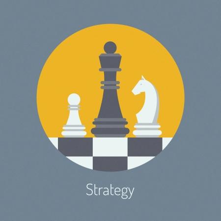 pensamiento estrategico: Diseño plano ilustración moderno concepto de estrategia de negocio con figuras de ajedrez en un tablero de ajedrez