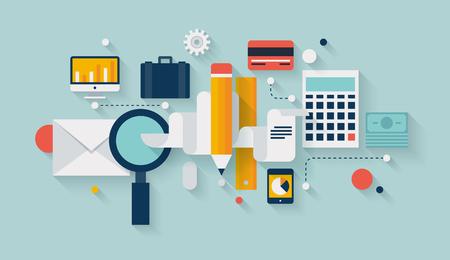 バンキング: 現代のビジネスの作業要素、財務書類オブジェクトおよび開発事業計画のためのファイナンシャルプランニング アイコンとフラットなデザインの図インフォ グラフィック コンセプト設定