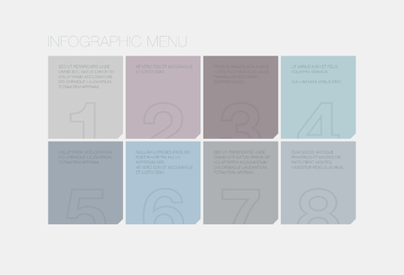Flat infographic user interface design of simple abstract square style menu with modern ui elements Vector