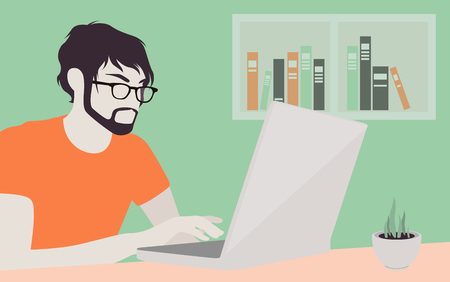 finding: handsome man in casual T-shirt sitting at the desk and working on laptop in the office Illustration